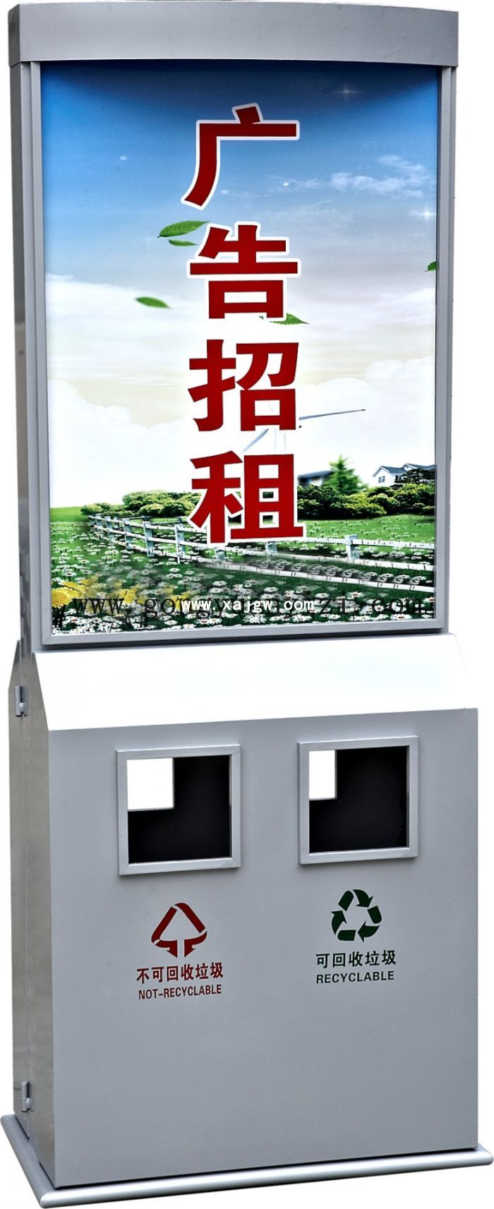 小区不锈钢广告垃圾箱