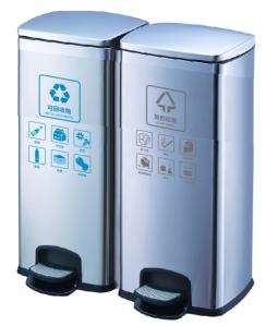 西安60升不锈钢脚踏两分类垃圾桶