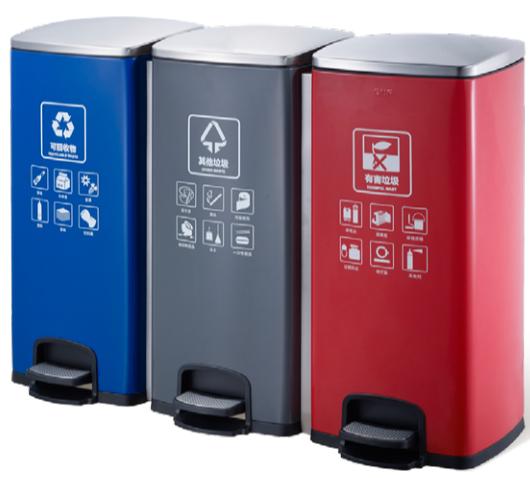 西安90升三连体不锈钢脚踏分类垃圾桶