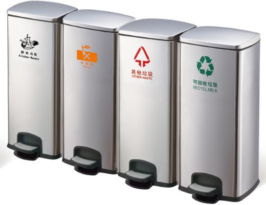 西安120升四连体不锈钢脚踏分类垃圾桶