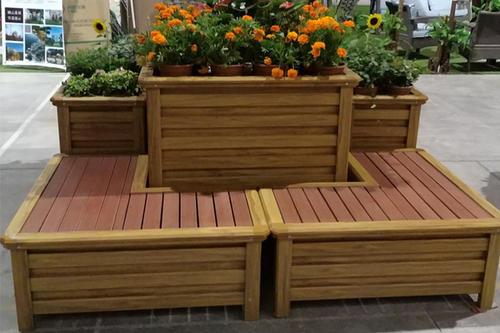 吴忠铝合金木纹花箱组合座椅