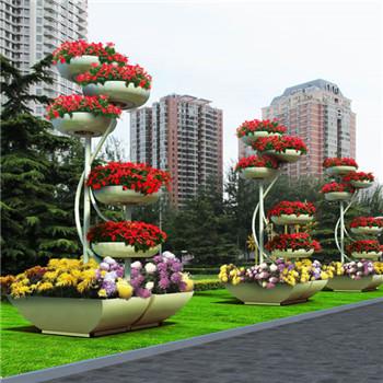 海东格尔木铁艺立柱式花架花盆